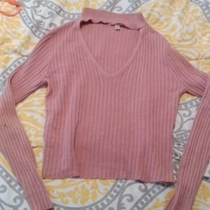 Pink rose ribbed sweater